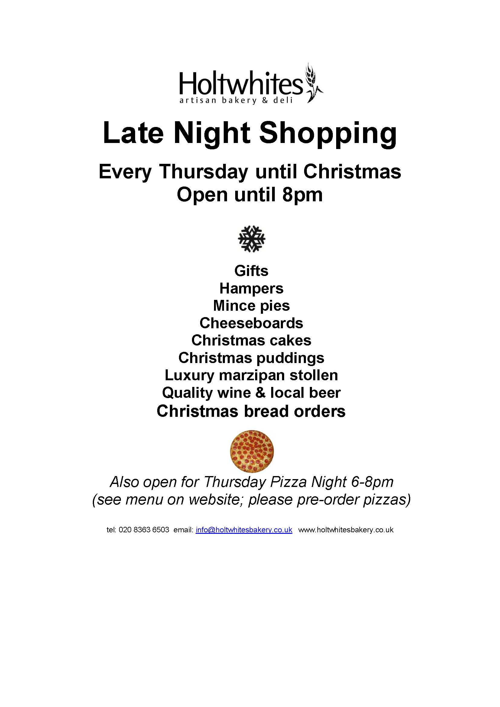 Late night shopping on Thursdays until Christmas